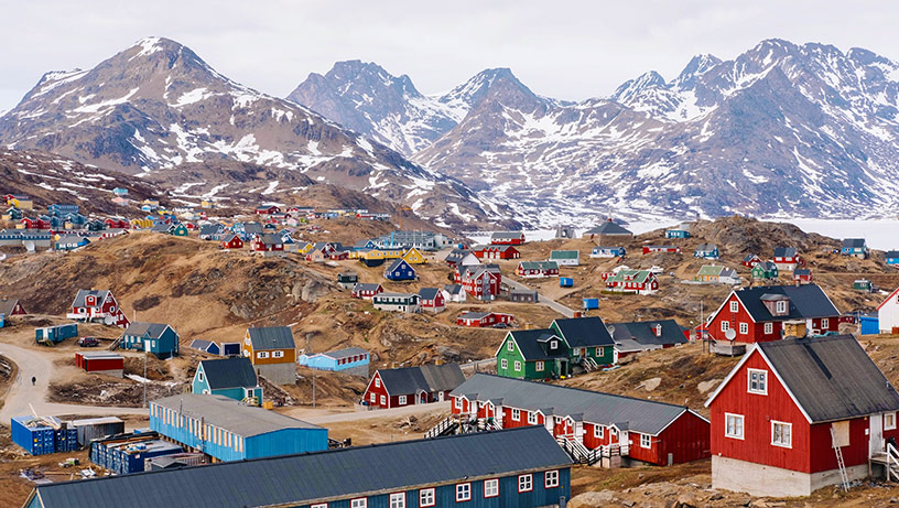 mountain town in greenland