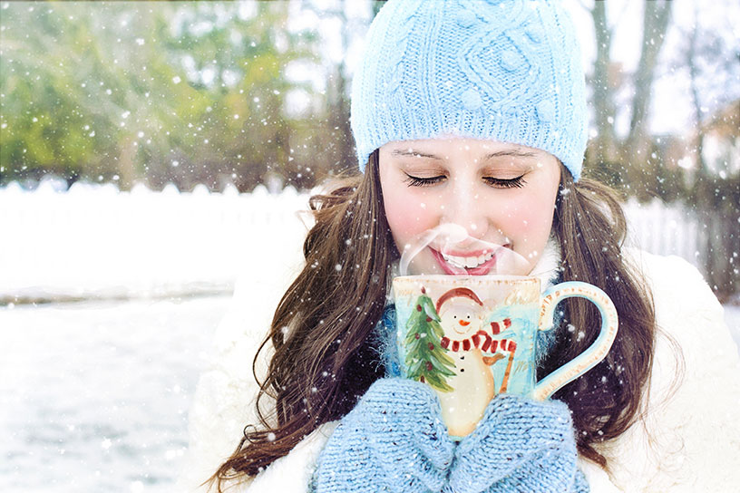 woman drinking hot chocolate in finland