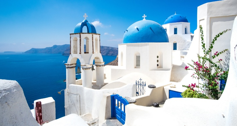 santorini iconic blue and white building view greece