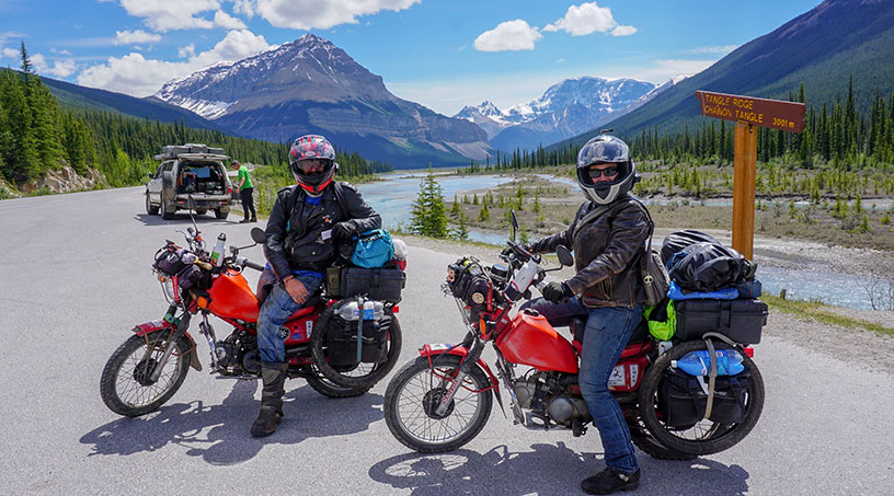 motorbike riding in rocky mountains