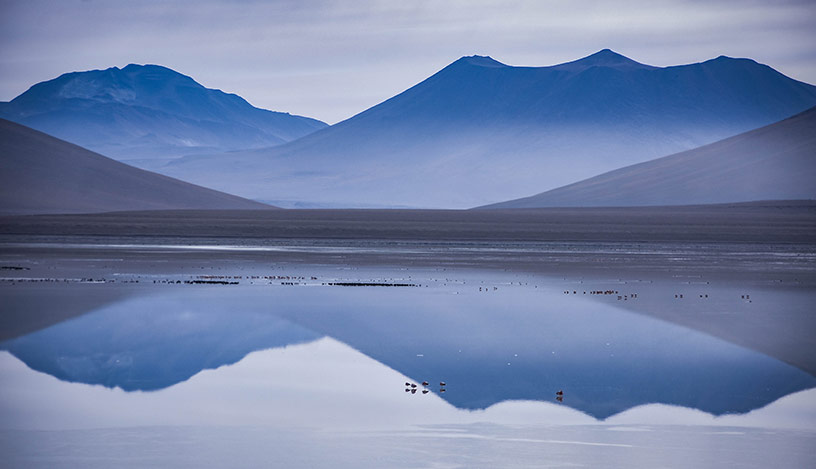 lagoons at salt flats bolivia