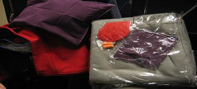A pillow, blanket, eye mask and ear-plugs all work in conjunction to create a relaxing and noise-free environment where you can get restful sleep while in transit—like this set provided by a train company in Norway.
