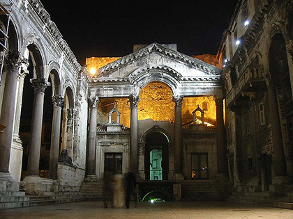 Check out Diocletian's Palace in Split, Croatia for an unforgettable night.