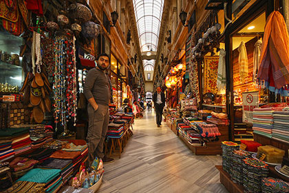 A traditional Arcade in Istanbul is chock full of colourful goods and even more colourful vendors.